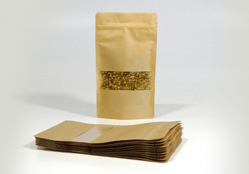 Stand Up Pouch KRAFT/PET/CPP WITH WINDOW 160x270 mm