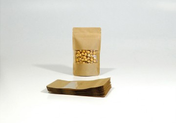 Stand Up Pouch KRAFT/PET/CPP WITH WINDOW 85x145 mm